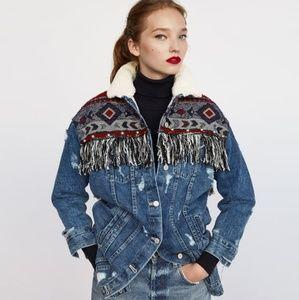 Zara denim jacket with contrasting sleeves